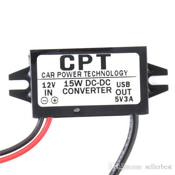 CPT cargador de coche adaptador convertidor de CC Adaptador 12V a 5V 3A 15W Voltaje Reductor con doble USB Un cable micro USB hembra para DVR CAR GPS