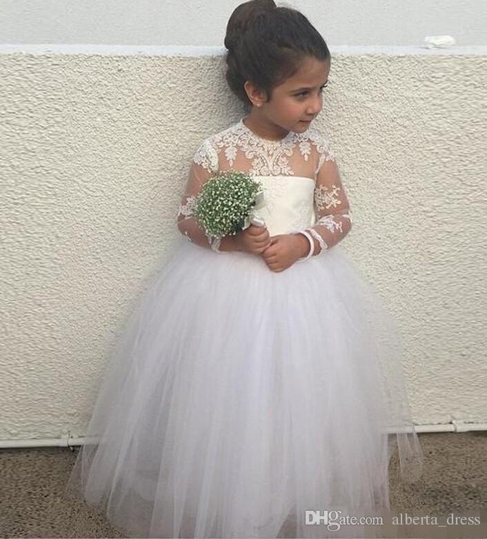 Puffy Girls Pageant Kleider für Kleinkinder Long Junior Brautjungfer Sheer Neck Spitze Appliques Blumenmädchenkleider mit langen Ärmeln