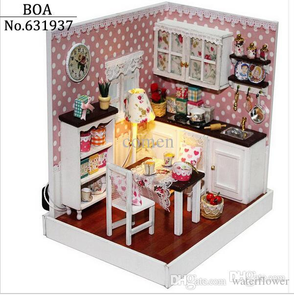 Wholesale Wooden Doll Dinning House Furniture. Wholesale Dollhouse Creative  Diy Doll House Miniature Manual 3d
