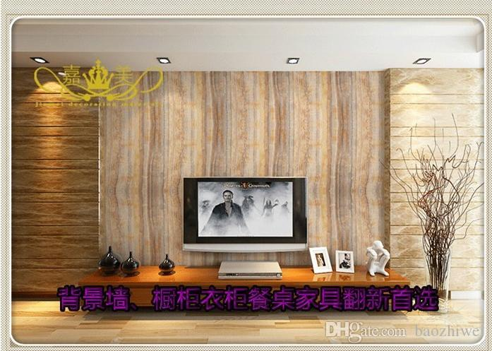 Simulation Of Marble PVC Sticky Wallpaper From TV Setting Wall Cabinet Furniture Renovation With Thick Waterproof Hd Images