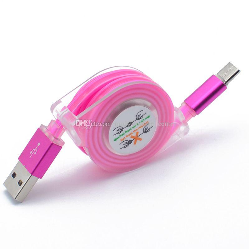 Retractable 1m LED Light Micro USB Cable Visible Flashing Noodle Data Sync Charger USB Cable for S5 HTC