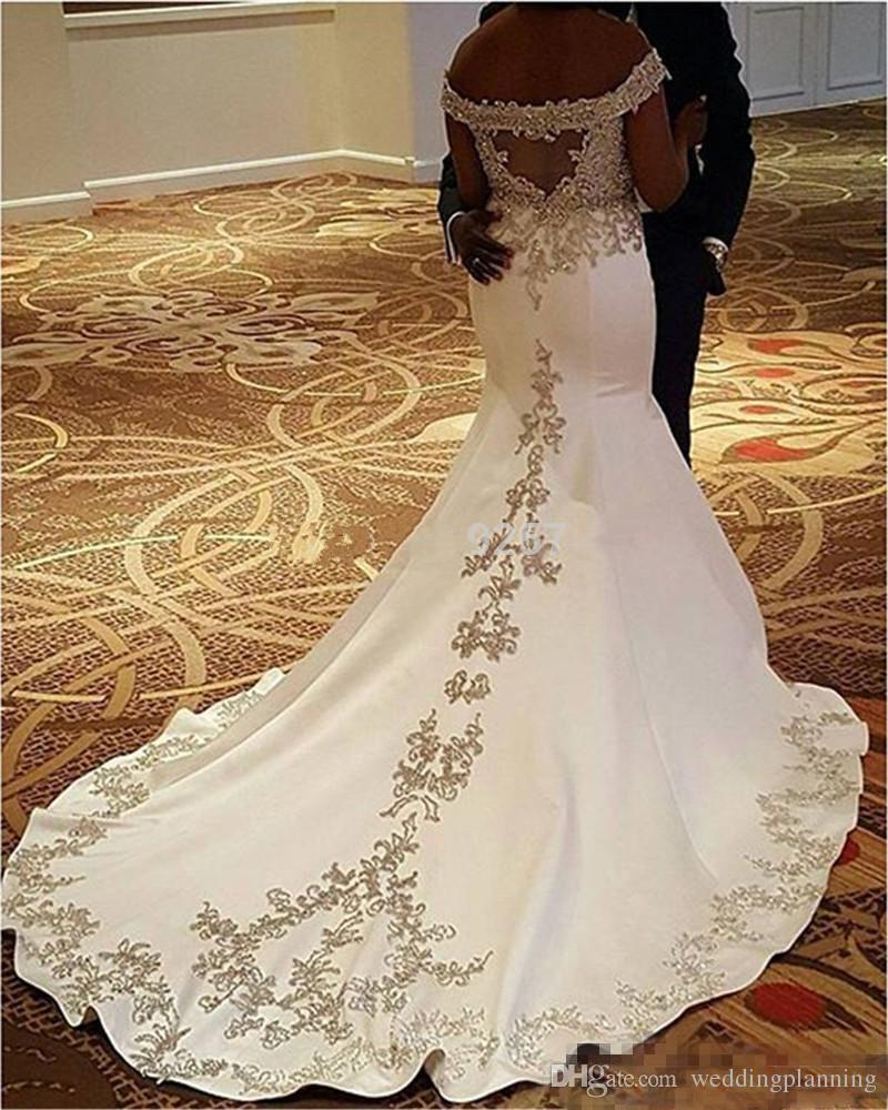 Nigerain 2017 De Luxe Robe De Mariée Hors Épaule Formal Appliqued Dos Nu Balayage Train Sirène Robes De Fête De Mariée Robes De Demoiselle D'honneur 2018