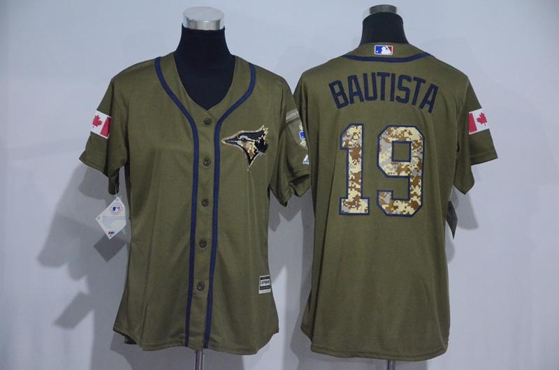 139f0ba5af1 2017 Toronto Blue Jays Jersey Mens 19 Jose Bautista Army Green With Camo  Number Salute To ...