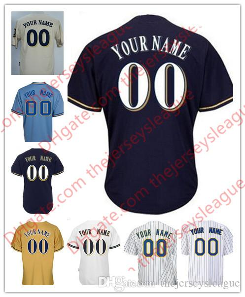 Milwaukee Mens Womens Youth Custom Cool Base White Gray Cream Navy Blue  Stitched Any Name Any Number Baseball Jerseys S-4XL Stitched Milwaukee  Custom ... 171ee0edb