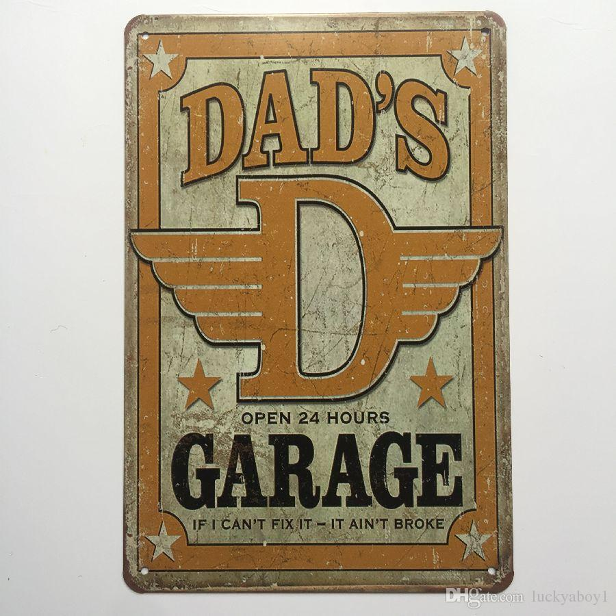 Dad's Garage Open 24 hours Retro Vintage Metal Tin sign poster for Man Cave Garage shabby chic wall sticker Cafe Bar home decor