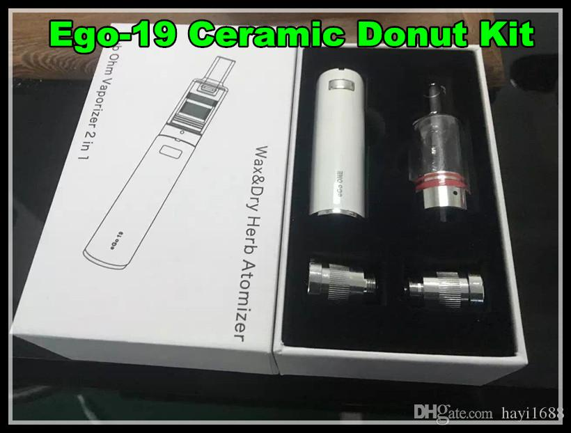The kiln Sub Ohm Vaporizer 2 in 1 Wax Dry Herb Glass Atomizer kit ceramic donut coils vaporizer pen with Ego one temperature control battery
