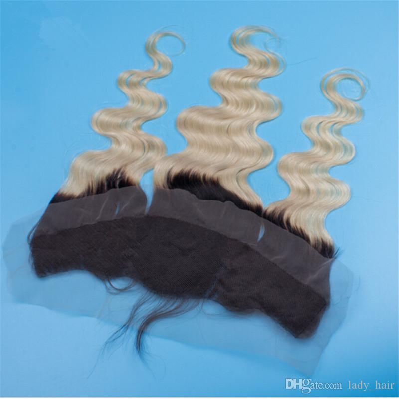 Malaysian Two Tone Farbe # 1B / Blonde Spitze Frontal Schließung Körperwelle Menschenhaarstücke Ombre 13X4 Ohr zu Ohr Spitze Frontal Gebleichte Knoten