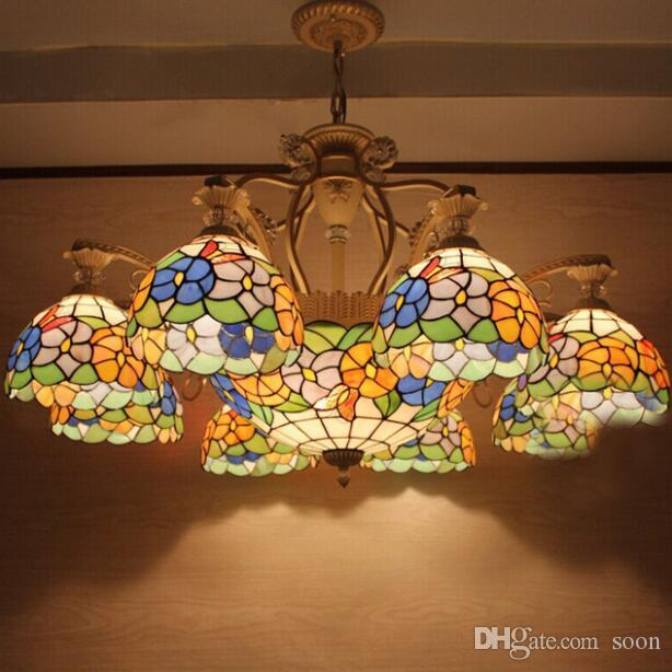Fumat Tiffany European Vintage Flowers Stained Glass Pendant Light Artistic Bar Cafe Lamp Dining Room Iron Cylinder