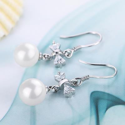 Pearls earrings Luxury butterfly tie pearls earrings 925 Sterling Silver bridal/Wedding dangle brinco prata Jewlery gift of ladies 0082