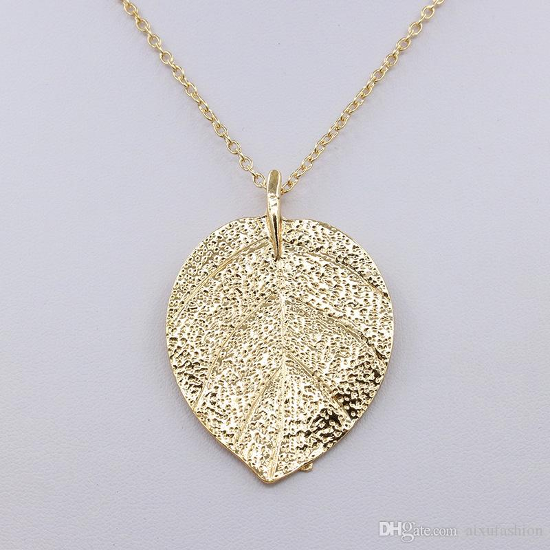 Hot Sale Fashion Charm Leaf Design Pendant Necklaces Jewelry Gold Color Sweater Chain Women Long Necklace Collier Femme Gift