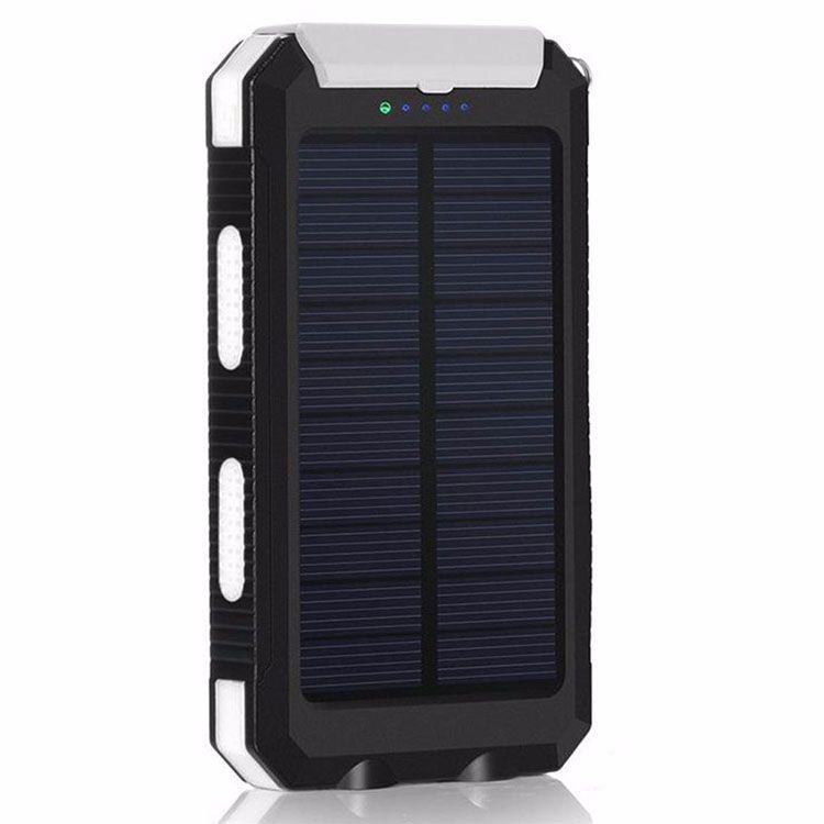 20000mah Travel Portable Waterproof Solar Power Bank 2 USB External Solar Panel Charging Dual LED Light Compass For All Phone