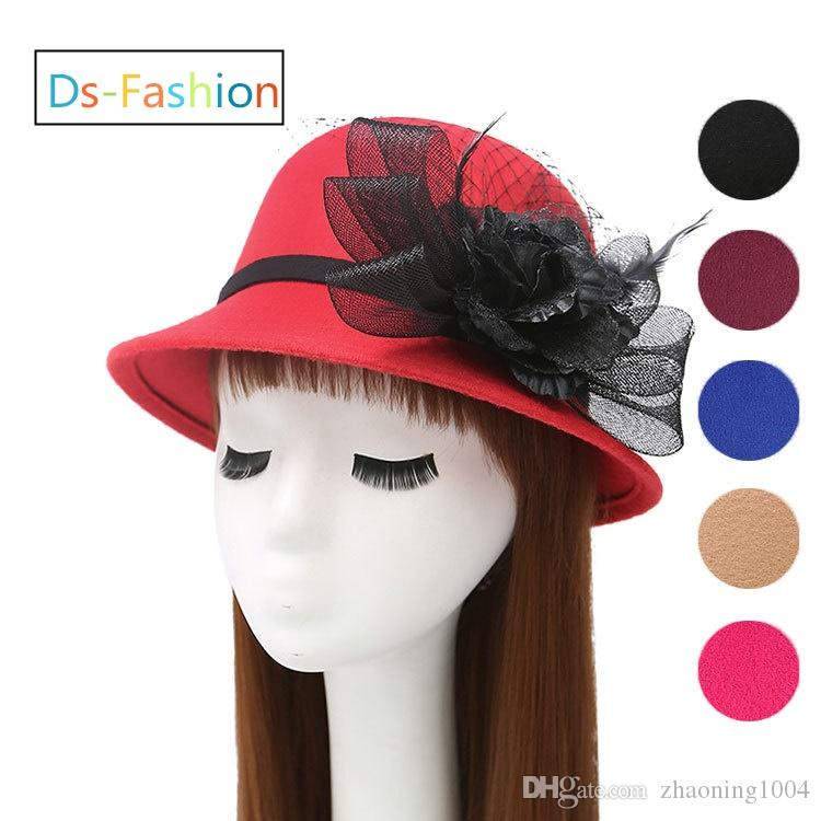 0297e081c3ee3 Elegant Fedoras Hats With Flower For Women Kentucky Derby Organza ...