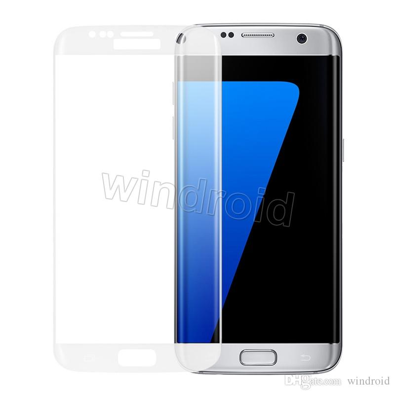 0.2MM Samsung galaxy S7 Edge S6 Edge Screen 3D Protector tempered glass Full Cover Curved Glass 9H Hardness Screen Protector With Retail box