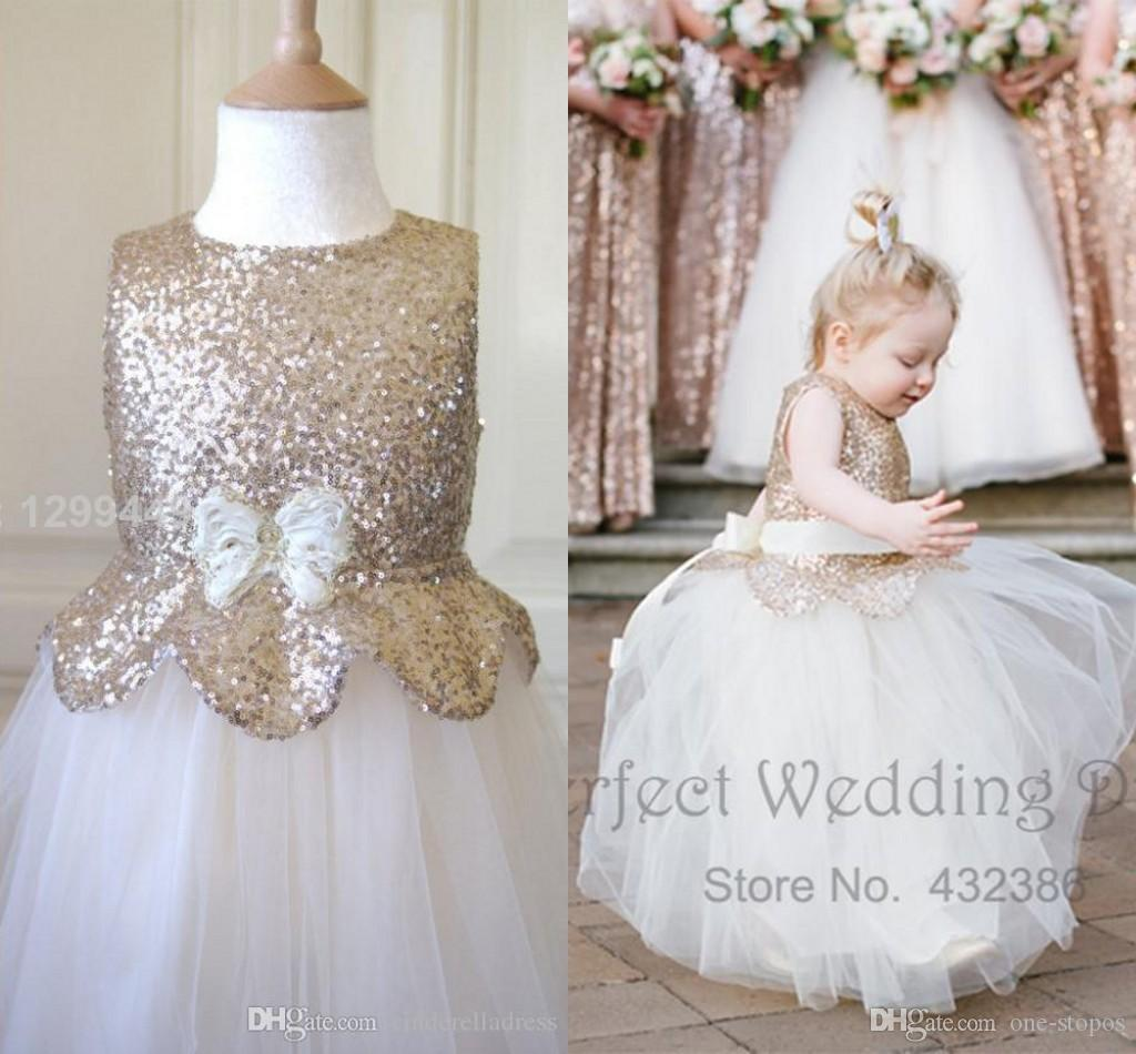 Cute metallic flower girl dresses 2016 new kids rose gold sequin cute metallic flower girl dresses 2016 new kids rose gold sequin white tulle skirt belt bow puffy pageant long prom gowns ba1411 big girl dresses black mightylinksfo Gallery