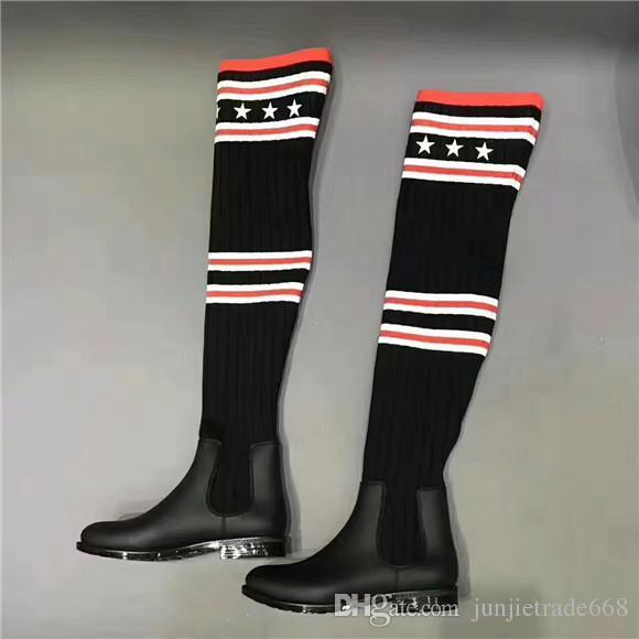 2017 exklusiven Luxus Kniehohe Slip on Stricken Striped fünfzackigen Stern Socke Winter Stiefel Frauen aus echtem Leder Stiefel