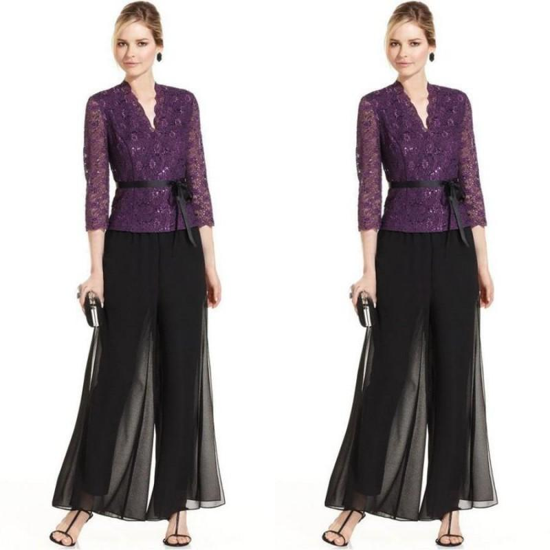 Elegant 2019 Two Pieces Mother Of The Bride Dresses Pant Suits Puple Lace Coat Black Chiffon Pant Formal Wedding Guest Dress With Sash