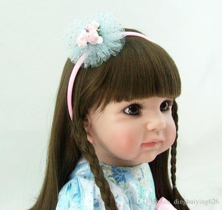 22 inch Handmade Pink Soft Baby Dolls Christmas Gift For Girls Kids Adorable Doll Lifelike Birthday Gift Toys