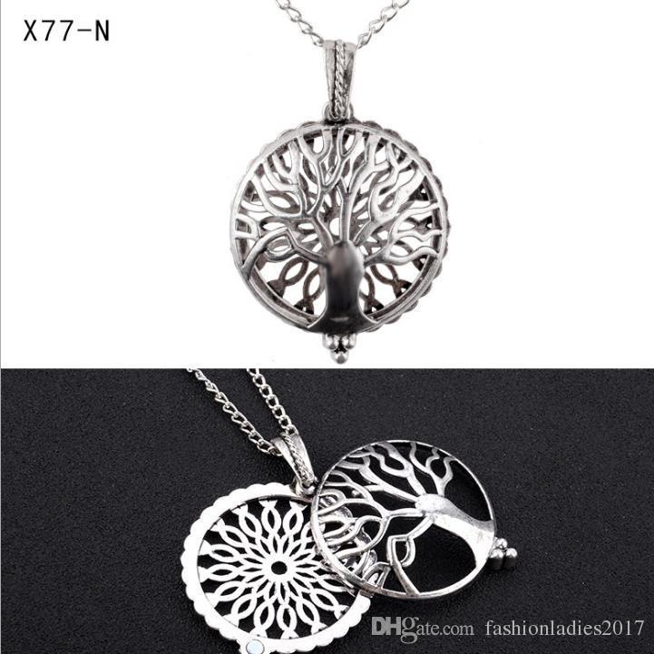 Colliers diffuseur de parfum Aromatherapy pas cher Mode de vie de l'arbre Owl huile essentielle diffuseur médaillon collier bijoux cage pendentif avec tampon