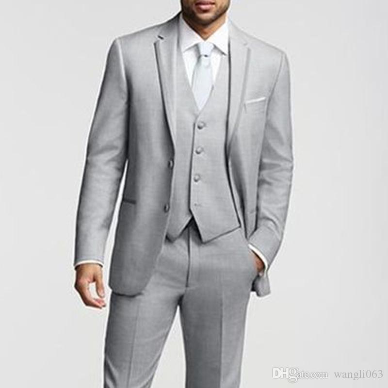 2018 Gray Business Party Trajes de hombre Traje de novio Clásico Ajuste de tres piezas por encargo de la boda Tuxedos chaqueta + pantalones + chaleco