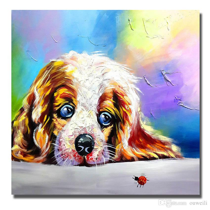 Chinese manufacture mass production canvas art large size cheap for wholesale modern dog painting pop art image