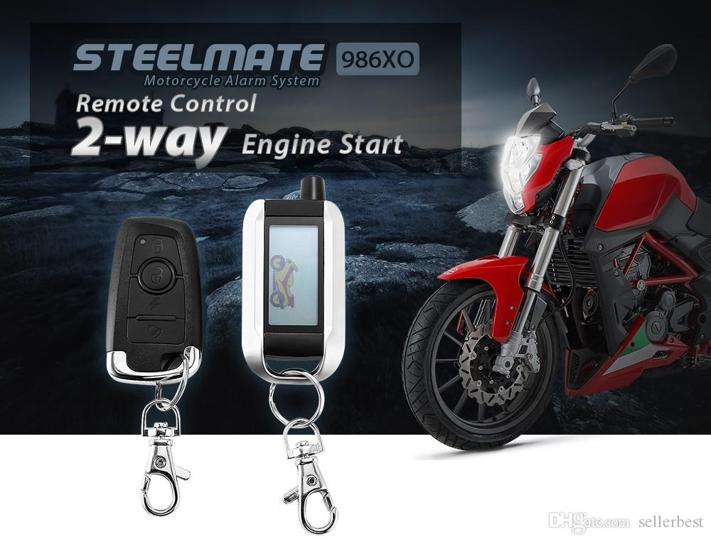 Steelmate 986XO Motorcycle AntiTheft Security Alarm System 2-way LCD Transmitter Remote Control Engine Start Water Resistant ECU
