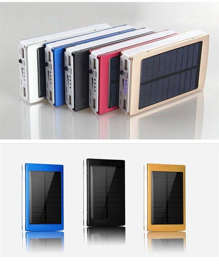 New 20000 mAh Dual USB Portable Solar Battery Charger Portable Power Bank with LED Light Solar Battery Panel External Charger