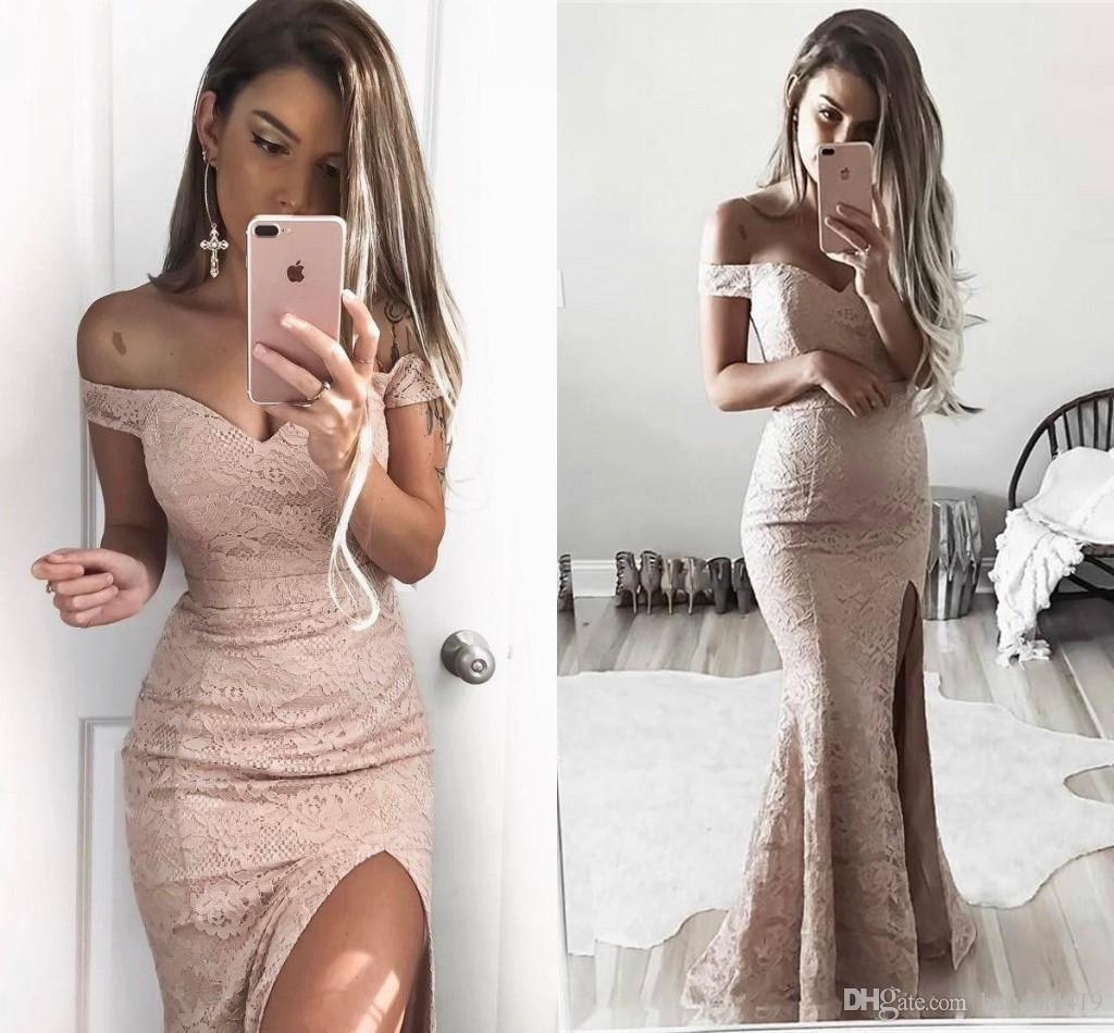 2017 Modest Sheath Dusty Pink Mermaid Evening Dresses Vestidos Sweetheart Off Shoulder Full Lace Side Split Formal Party Dress Prom Gowns