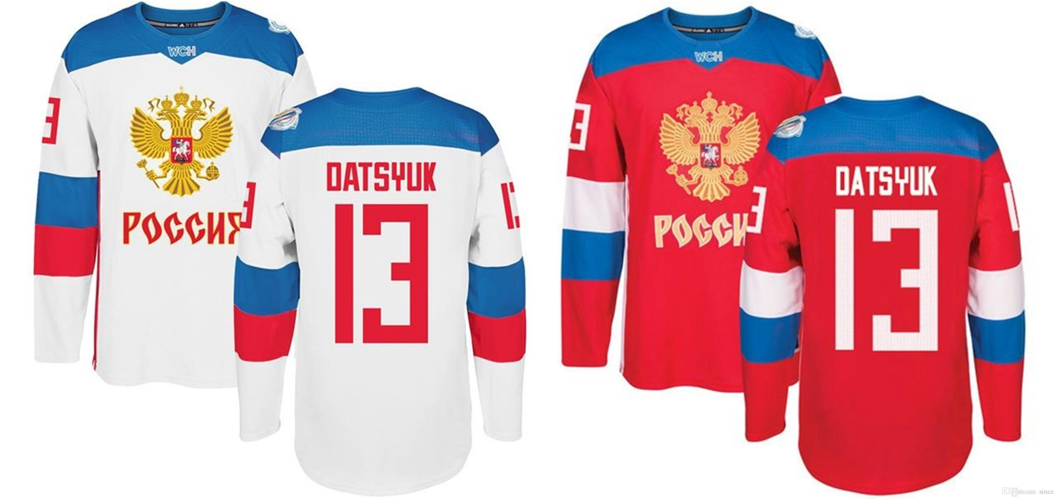 super popular 57c6f 4bc4b 2016 New 2014 Olympics Team Russia 13 Pavel Datsyuk Red White 2016 World  Cup Of Hockey Premier Player Ice Hockey Jerseys