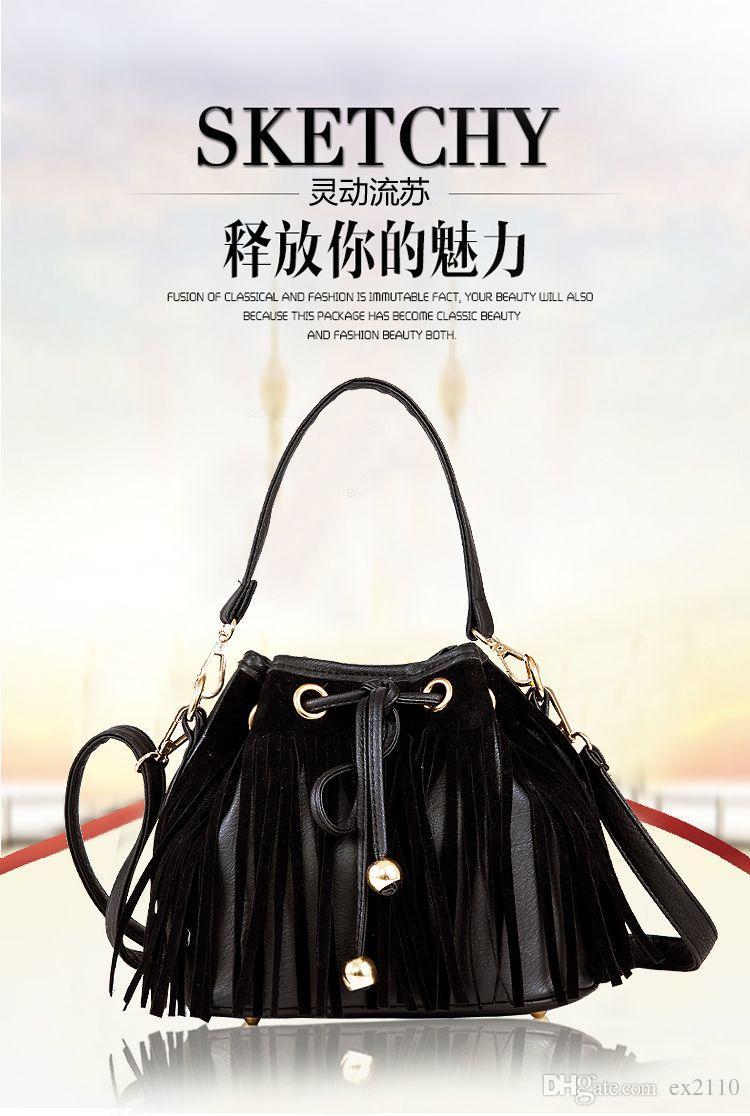2015 new H counter genuine Black fringed shoulder bag Messenger Bag new black fringed tassel Clutch DHL