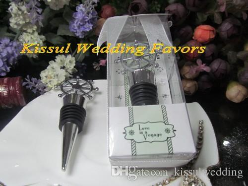 Unique Wedding gift for guests of Love is a Voyage Ship's Wheel Wine Bottle Stopper Wedding Favors For Party Decorations Free ship
