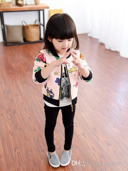 New Autumn Girls Cotton Jacket Kids Cartoon Star Panda Printed Outwear Baseball Uniform Coat Children Cardigan Jackets Coats 12152