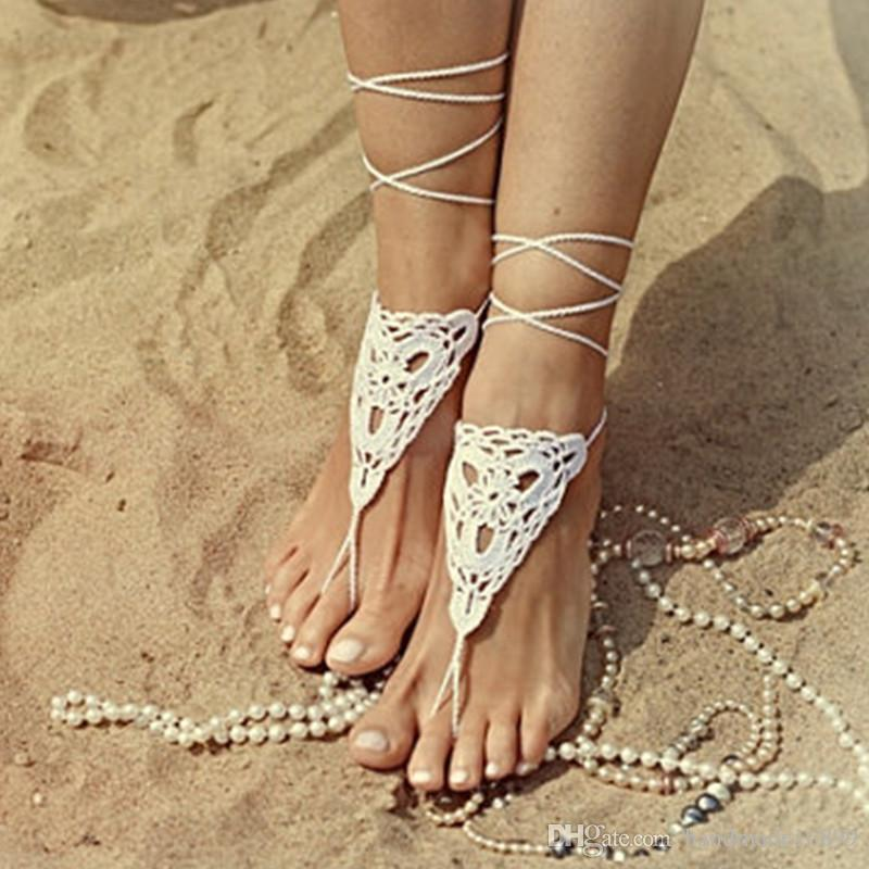 78090b5f9096 OR Wedding White Crochet Barefoot Sandals Nude Shoes Foot Jewelry Bridal Barefoot  Sandal Bridal Lace Shoes Wedding Accessory Nude Shoes High Heel Shoes From  ...