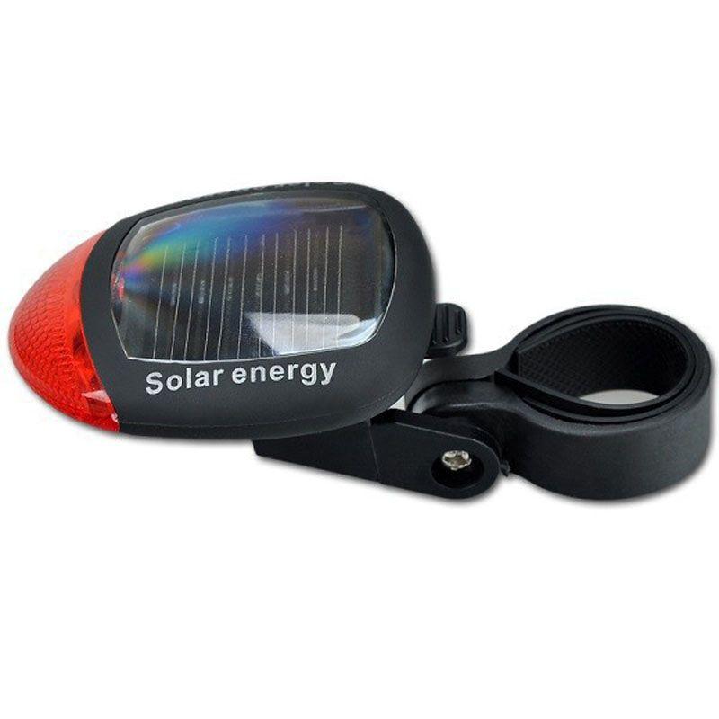Luzes de bicicleta de Energia Solar 2 Vermelho Brilhante LEDs Bicicleta À Prova D 'Água Traseira Da Lâmpada de Cauda Luz Com Braçadeira Ajustável Acessórios Para Bicicletas