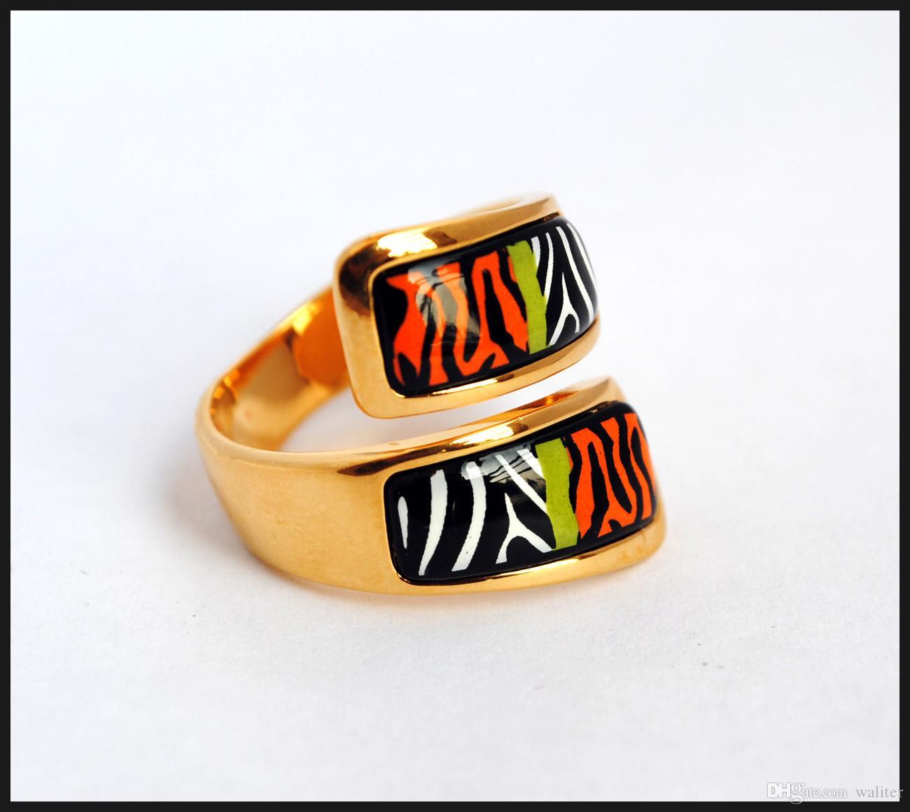Wild Africa series 18K anillos de esmalte chapado en oro de calidad superior doble anillo curvado para mujeres anillos de banda para regalo