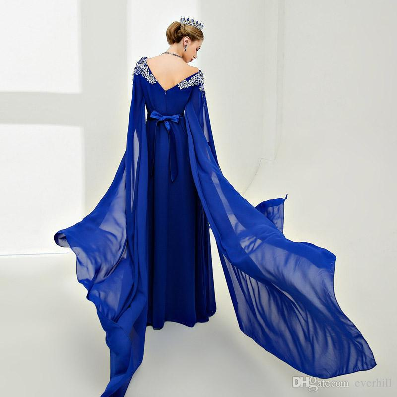 Vintage Royal Blue Long Sleeve Evening Dresses Lace Crystal Beaded V Neck Chiffon Arab Pageant Gowns Runway Party Dresses Robe Longue Soiree
