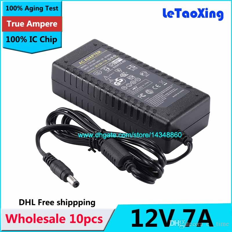 10pcs AC 100-240V Adaptor To DC Power Adapter 12V 7A Supply 6A Charger For  5050 3528 LED Light Monitor With IC Chip