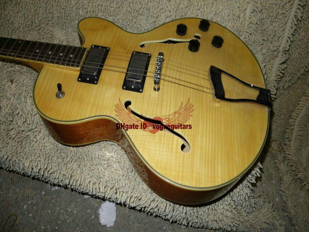 Custom Shop Amarelo Maple Oco 335 Guitarra Jazz ONE Piece Pescoço Best Selling A1256