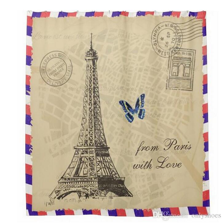 Customs 36/48/60/66/72 W x 72 H Inch Shower Curtain Eiffel Tower Waterproof Polyester Fabric DIY Shower Curtain