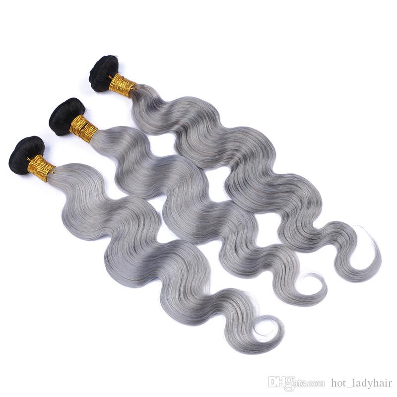 Two Tone 1B Grey Ombre Peruvian Hair 3Bundles Platinum Grey Ombre Body Wave Wavy Human Hair Weaves Extensions In Stocks