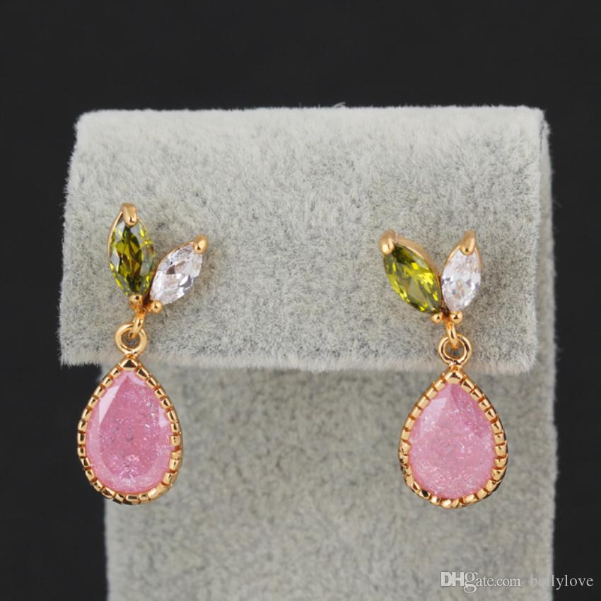 Fashion Womens Jewelry 18K Yellow Gold Plated Cubic Zirconia CZ Pink Stone Teardrop Stud Earrings for Party