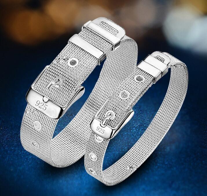 Low price Promotion! Mark 925/18k Girl / Madam 925 Sterling Silver Gold mesh Watch strap Charm bracelet