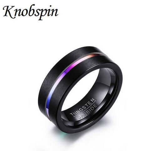 8mm Wide Tungsten Steel Scrub Colorful Groove Ring For Men Engagement Wedding Band Best Gift Jewelry Us Size 7 12 Mens Rings Emerald