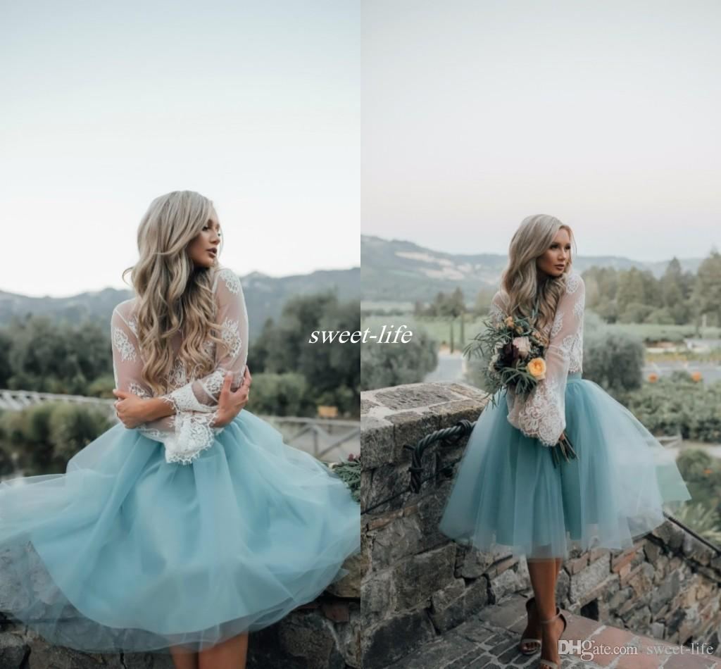 Two pieces lace top long sleeve bridesmaid dresses for boho two pieces lace top long sleeve bridesmaid dresses for boho wedding 2017 dusty blue knee length tulle reception party maid of honor dresses turquoise ombrellifo Choice Image