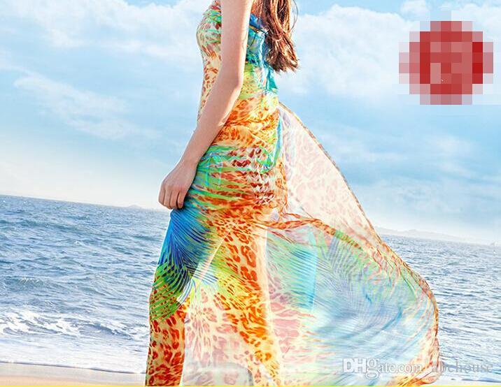 200 * 140 cm 2016 été impression foulard en soie foulard en mousseline de soie surdimensionné femmes Wrap Sarong crème solaire plage Cover Up Long Cape Femme