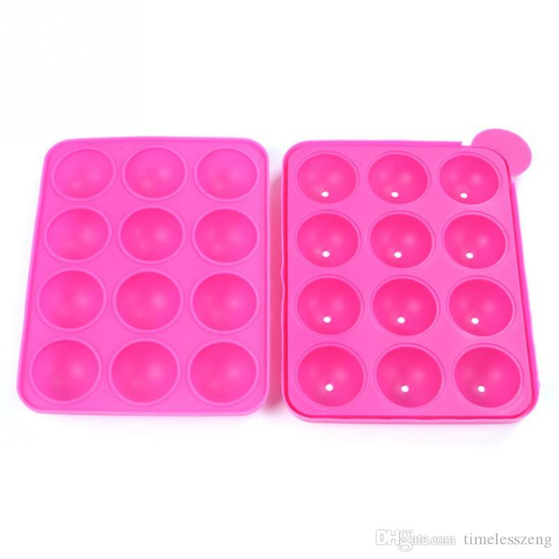 Silicone Tray Pop Cake Stick Mould 12 Holes Lollipop Party Cupcake Baking Mold Ice Tray Sphere Maker Chocolate Mold