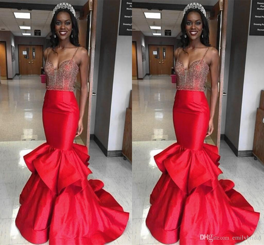 Miss World 2017 Pageant Evening Gowns Red Spaghetti Straps Beaded Ruffles Satin Mermaid Floor Length Custom Made Sexy Long Prom Dress Cheap Womens Formal