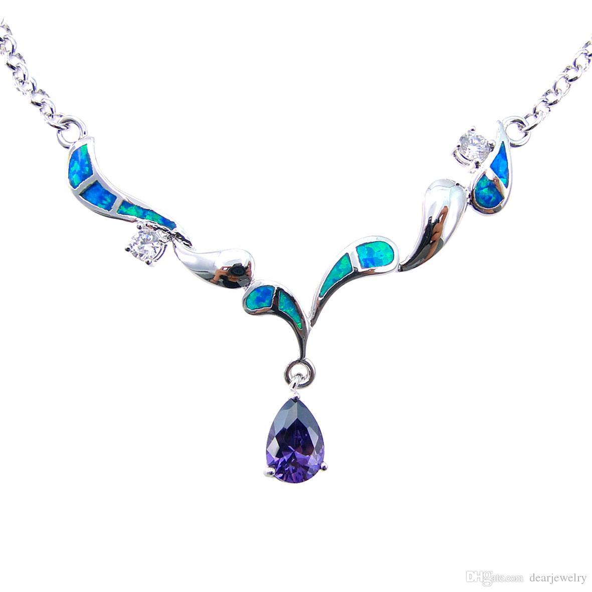 57917efca918 Compre Joyería De Moda Collar De Ópalo Azul Collar De Ópalo De Fuego Joyas  De Plata Rodio Galvanizado DR03011704N Azul Envío Gratis A  11.05 Del  Dearjewelry ...