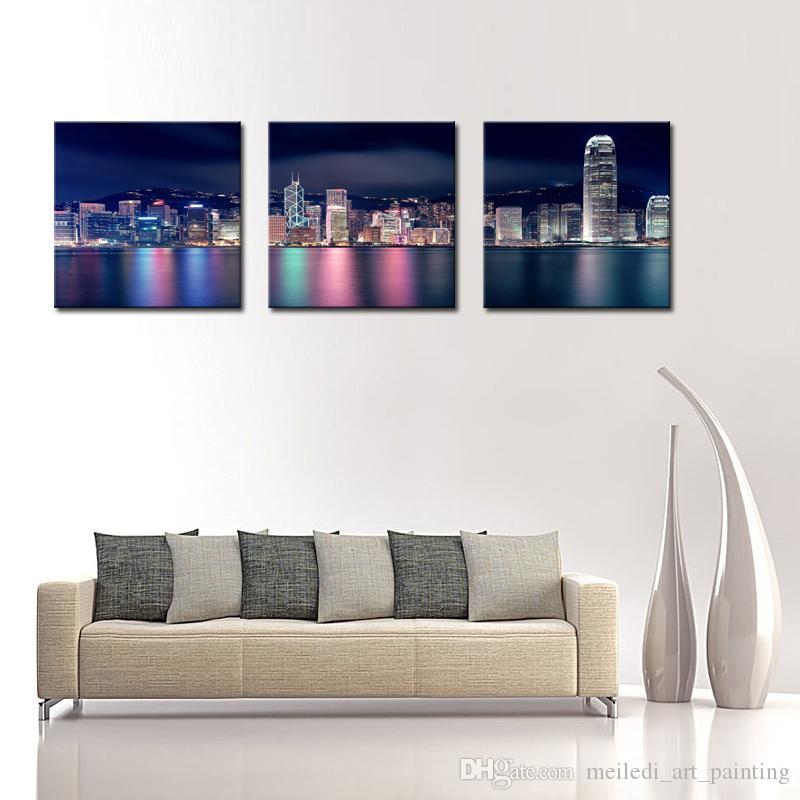Ville Peintures Mur Art Décor Hong Kong Victoria Harbour La Nuit 3 panneaux Image Imprimer sur Toile pour la Décoration Moderne