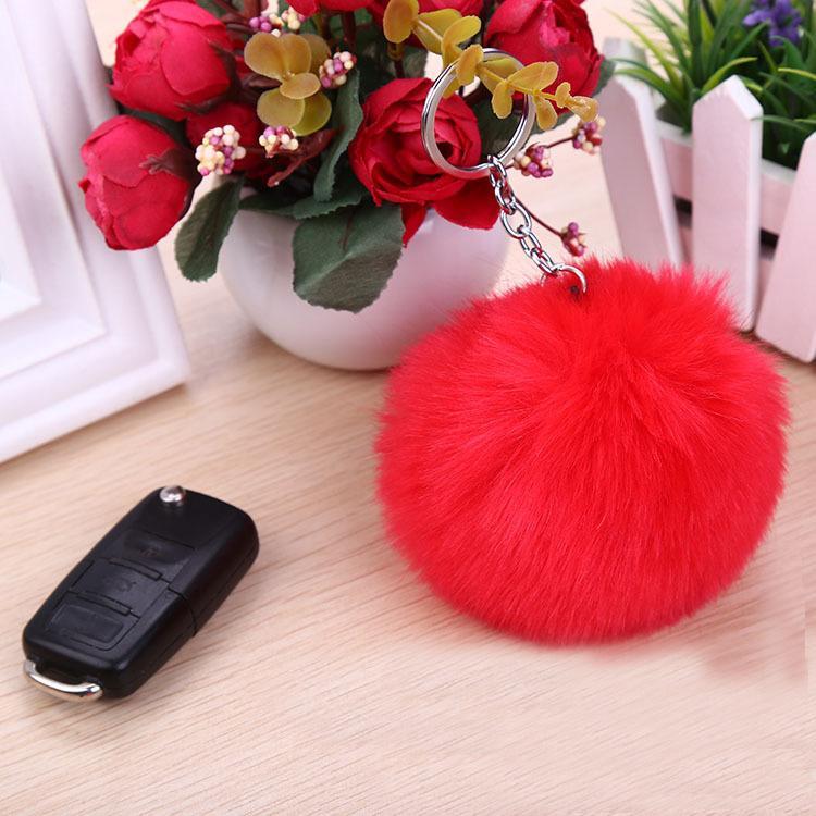100 pz 10 CM Faux Rabbit Fur Ball Peluche Portachiavi In Metallo Argento Anelli Portachiavi Ciondolo Auto Portachiavi All'ingrosso