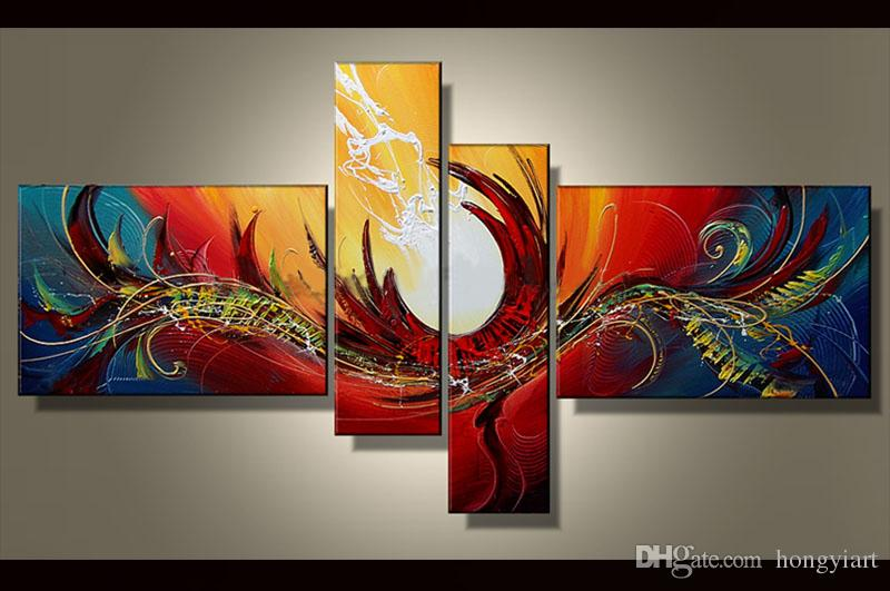 100% Hand painted Modern Abstract oil painting 4 pieces painting wall art  canvas Home Office Hotel Decoration picture Contemporary Art abs32
